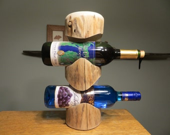 Two Bottle Wine Holder made from Reclaimed Northern Pine.