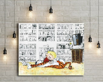 Calvin and Hobbes Canvas Print of Saturday Snuggles