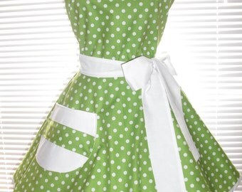 1950's Style Retro Apron Lime Green with White Dots Circular Flirty Skirt