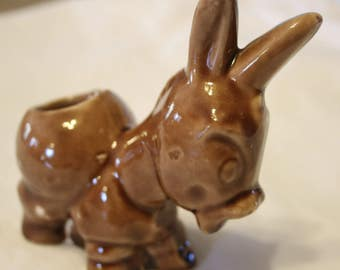 Donkey Toothpick Holder Vintage Burro Donkey Pottery Ceramic Brown Cute Collectible
