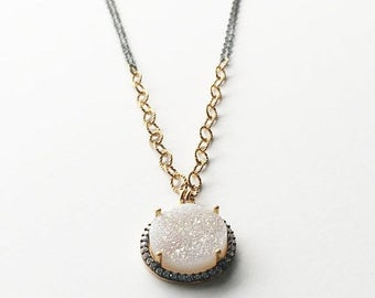 ON SALE White Druzy Gold Filled and Sterling Necklace