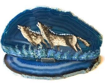 Hand Painted Brazilian Agate Mountain Winter Wolves