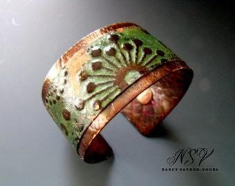 Brass copper embossed mixed metal cuff bracelet green patina
