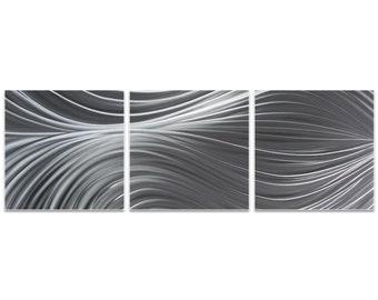 Flowing Metal Art 'Passing Currents Triptych' by Nicholas Yust - Modern Wall Decor Minimalist Artwork on Metal or Acrylic