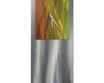 Autumn Modern Clock 'Warm Studio Clock' by Nate Halley - Metal Wall Decor Funky Art Clock on Ground and Colored Aluminum