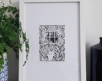 Into the Garden Lino Print