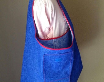 Medium Size Folding Shopping Bag, Blue Cotton Grocery Bag, Project Bag, Lightweight Fold-Up Bag