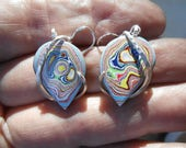 BEAUTYS  Fordite Silver Wrapped Earrings