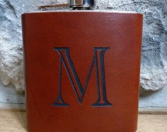 Personalized Leather Groomsman Flask, Laser Engraved Flask, Monogrammed Flask, Graduation Gift