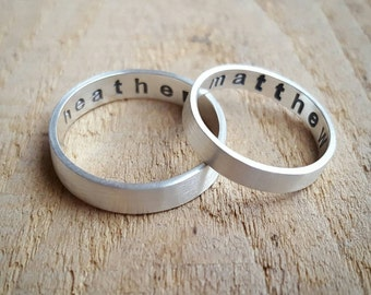 Sterling Silver Wedding Band Set with Secret Message, engraved wedding bands, affordable wedding bands, couples rings