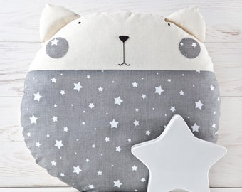 Baby Pillow Stars Nursery Decor Cat Toy Decorative Pillow for Kids Room Gray Cushion Cute Animal Pillow Baby Shower Gift Cat Lover Gift
