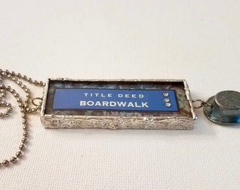 "MONOPOLY GAME Piece Necklace ""Park Place & Board Walk"" Steampunk Soldered Silver Glass Hat Charm"