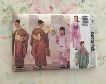 Girls Japanese Kimono Costume Halloween Butterick 6697 Pattern Uncut Factory Folded UC FF Size 4 to 14