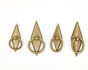 Antique BRASS DRAWER PULLS: Drawer Handles, Rhombus, Cabinet Door Hardware,