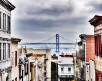 San Francisco Bay Bridge Street Scene Photo Print