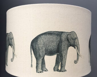 Elephants - 40cm hand printed drum lampshade