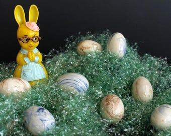 Vintage Ceramic Easter Egg Set of 8 Brown and Blue Marble Glaze