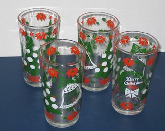 Vintage Set of Four Christmas Drinking Glasses, Merry Christmas and Happy New Year