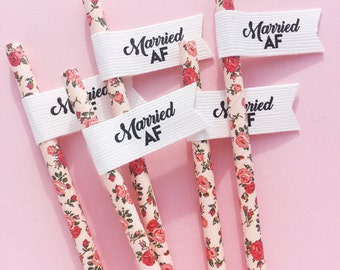 Married AF Wedding Straws With Flags/ Wedding Decoration/ Party Straws/ Just Married/ Retro Paper Straws/ Bridal Shower
