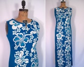 1960s 1970s blue and white tropical flower print gown • 60s 70s hawaiian floral print maxi dress • vintage return to paradise dress