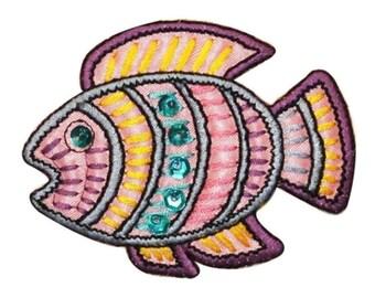 ID 0208A Tropical Ancient Fish Patch Shiny Sequins Emblem Iron On Applique