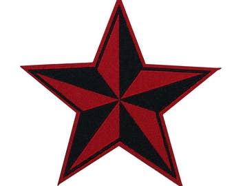 Woven Sew-On Nautical Star Red & Black Jacket-Patch Naval Symbol Craft Applique