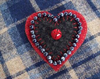 Valentine's Heart Brooch Felt Pin