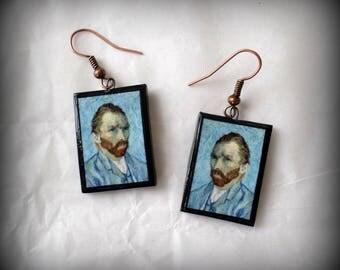 Van Gogh Self-Portrait Vincent Van Gogh Earrings Handmade Polymer Clay