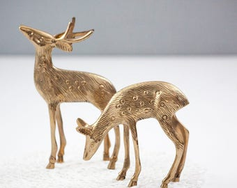 Pair of Brass Deer, Spotted Doe and Stag or Buck