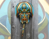 Hand Painted Horseshoe Crab Shell - Decorative Mask Series #22, Dune Time Arts