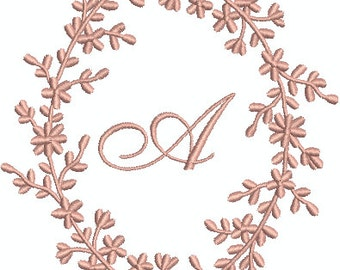 Single Initial Machine Embroidery Monogram Font in Leafy Frame