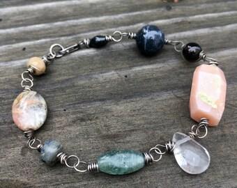 Gratitude bracelet OOAK mala jewelry oxidized sterling silver semi precious gemstones