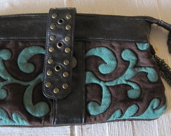 Vintage Woman's  LAURA ROSNOVSKY Fold Over Leather Clutch