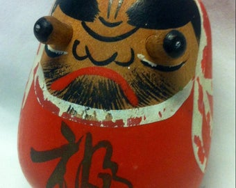 Vintage Japan Daruma wooden Kokeshi Style with Peg eyes