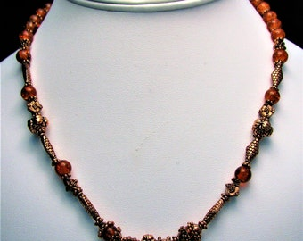 Orange Cracked Glass Beaded Necklace with Copper Accents - Item 312