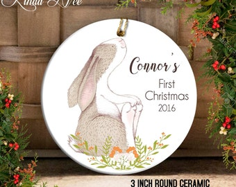 Baby's First Christmas Ornament, Personalized Baby Ornament, Baby Shower Gift, Gift for Baby Girl Boy, Christmas Bunny Ornament, Bird OCH20