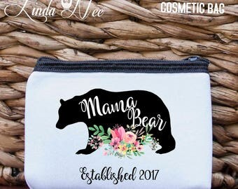 Mama Bear Coin Purse Cosmetic Bag, Baby Shower Gift for Mom, New Baby Bag, MOM Gift, New Baby Purse, Mother's Day Gift, Mom Birthday CPP8