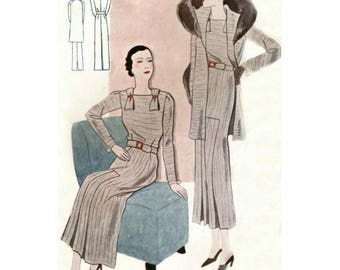 Plus Size (or any size) Vintage 1934 Coat/Jacket and Dress Sewing Pattern - PDF - Pattern No 1603/1604 Joy