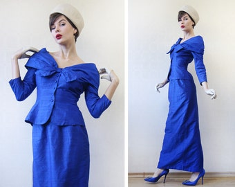 Vintage elegant royal blue pure raw silk blouse / blazer maxi skirt suit set