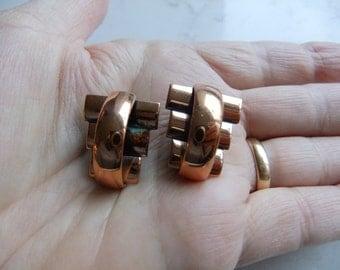 Vintage Mid Century Pair of Renoir Copper clip earrings - Signed C Renoir