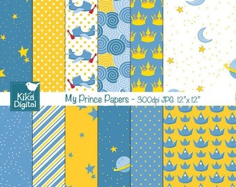 My Prince Digital Papers - Scrapbooking, card design, invitations, stickers, background, paper crafts, web design - INSTANT DOWNLOAD