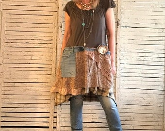 Prairie Chic Top M/L, Upcycled Clothing for Women, Top or Dress, Hippie Boho, Junk Gypsy, Western Inspired