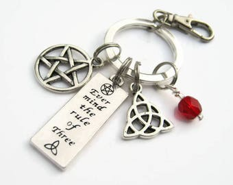 Rule of Three Keychain, Personalized Wiccan Zipper Pull, Witch Accessory, Pentacle Keychain Lanyard, Triquetra Keychain, Pentagram Key Fob