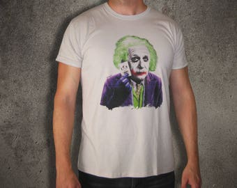 Einstein is the Joker t shirt, Albert Einstein,digital print,light gray,geek,gekky,mashup,batman,tee,shirt,man t shirt