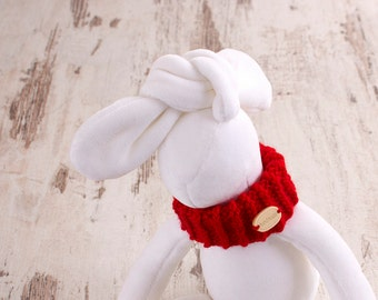 Stuffed Bunny Plush white Easter rabbit plushie toddler gift for kids handmade animal toy with red scarf