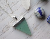 Genuine Aventurine Crystal Necklace with 925 Silver Plated Chain