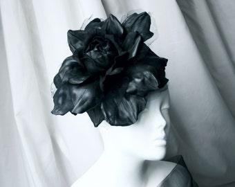 Black leather big rose flower headband - Made to Order
