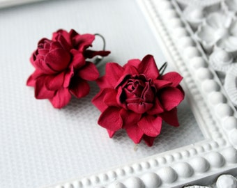 Hot pink rose leather earrings