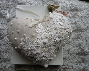 Large Linen Look Heart with Lace and Pearl Beads