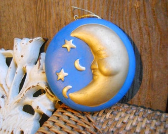 Beautiful Handmade Molded Porcelain Crescent Moon Stars Christmas Tree Ornament Vintage Winter Decor French Country Farmhouse Blue Gold